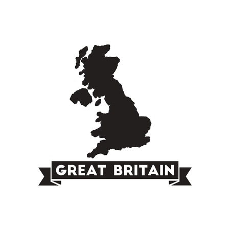 kindom: Flat icon in black and  white United Kingdom map Illustration