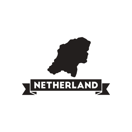 netherlands map: Flat icon in black and  white netherlands map Illustration