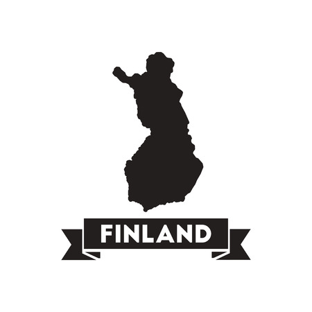 continental: Flat icon in black and  white Finland map