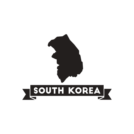 dictator: Flat icon in black and  white Map South Korea