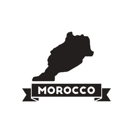 national geographic: Flat icon in black and  white Morocco map Illustration