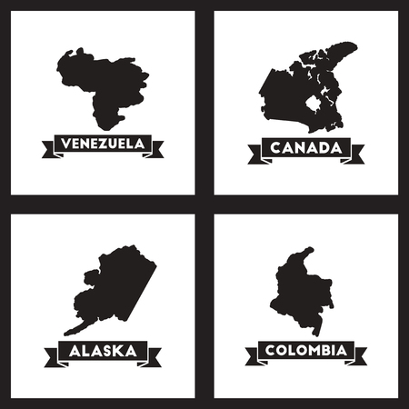 worldmap: Concept flat icons black and  white maps of countries world