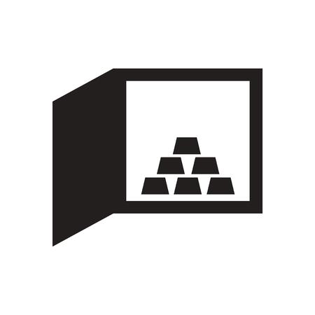 bullion: Flat icon in black and  white gold bullion safe