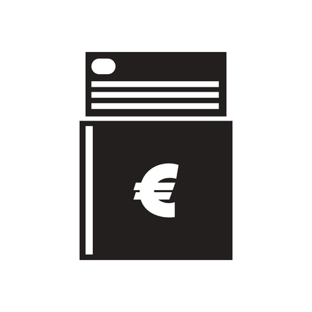 checkbook: Flat icon in black and  white checkbook