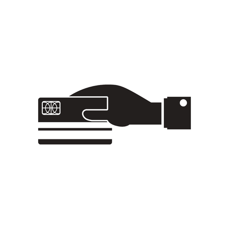 mastercard: Flat icon in black and  white bank card hand Illustration