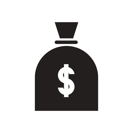 moneybag: Flat icon in black and  white money bag