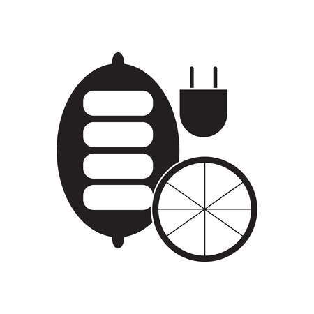 battery charger: Flat icon in black and  white mobile battery charger Illustration