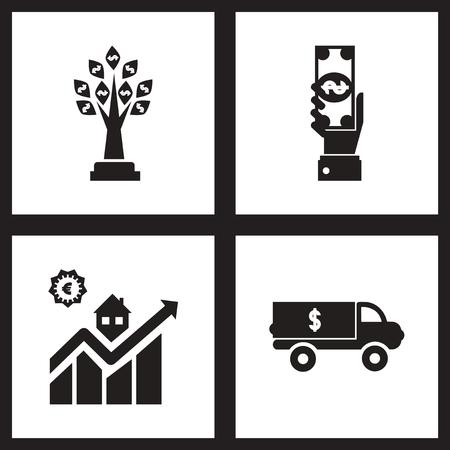 consumer society: Concept flat icons black and  white economy Illustration