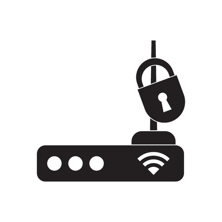 modem: Flat icon in black and white  Wi fi modem