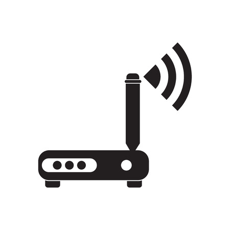 wi: Flat icon in black and white  Wi fi modem