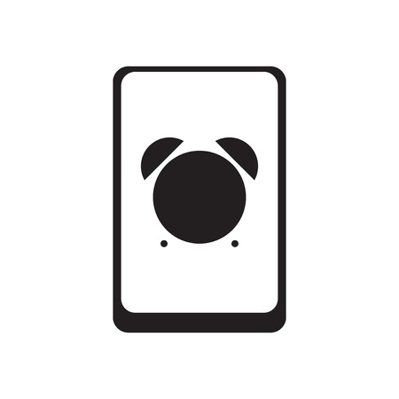 touchphone: Flat icon in black and  white smartphone alarm clock Illustration