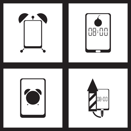 touchphone: Concept flat icons in black and   white smartphone alarm clock