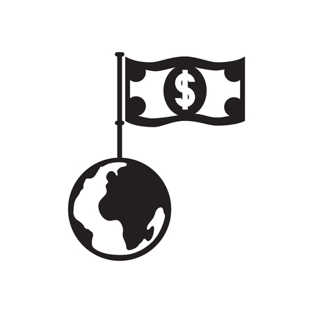 remittance: Flat icon in black and  white dollar Earth