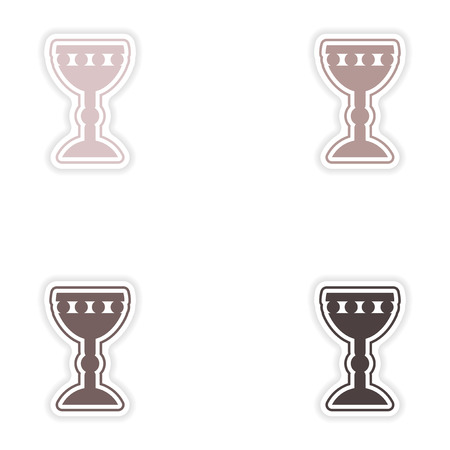 holy grail: Set of paper stickers on white background  Holy Grail Illustration