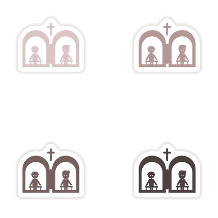 confess: Set of paper stickers on white background  Christian confessions