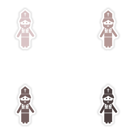 chastity: Set of paper stickers on white background  Christian priest