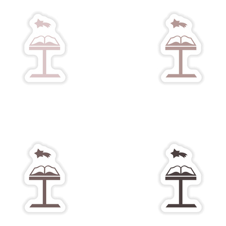 open bible: Set of paper stickers on white background  Open Bible Illustration
