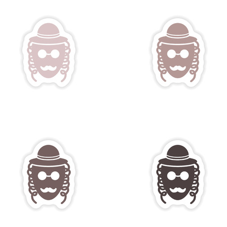 Set of paper stickers on white background  Jewish man