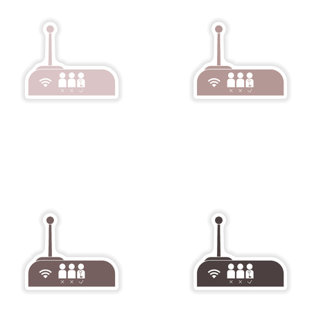 electrical tower: Set of paper sticker on white background   WiFi router