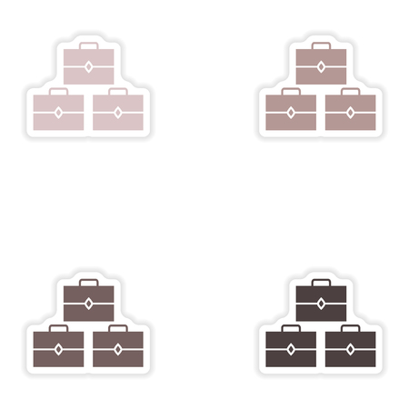 abundance: Set of paper stickers on white background   treasure chests