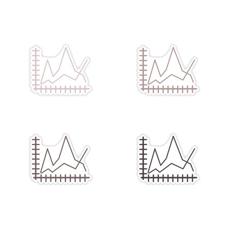 economic: Set of paper stickers on white  background economic graph