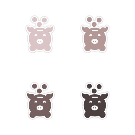 money box: Set of paper stickers on white  background money box Illustration