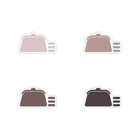 coin purse: Set of paper stickers on   white background coin purse Illustration