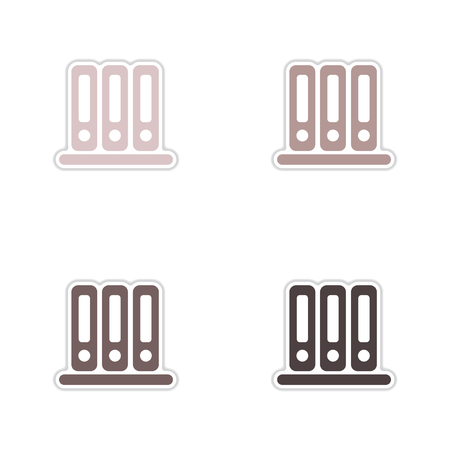 secretarial: Set of paper stickers on white  background folders for documents