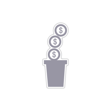 festal: paper sticker on white  background pot of coins