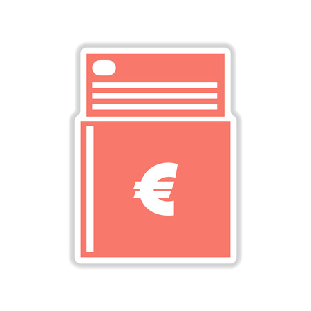 personal banking: paper sticker on white  background checkbook