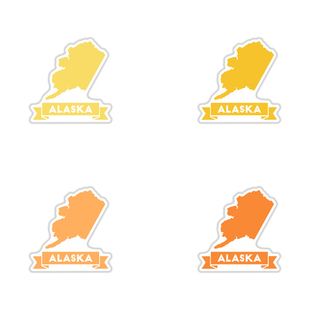 alaska map: Set of paper stickers on white  background Alaska map