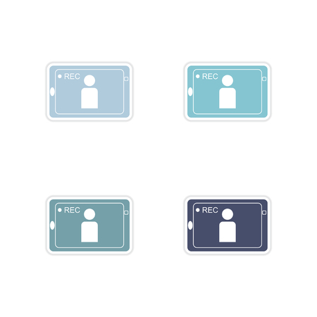 cinema viewing: Set of paper stickers on white  background mobile phone video Illustration