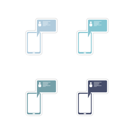touchphone: Set of paper stickers on white  background cell phone message