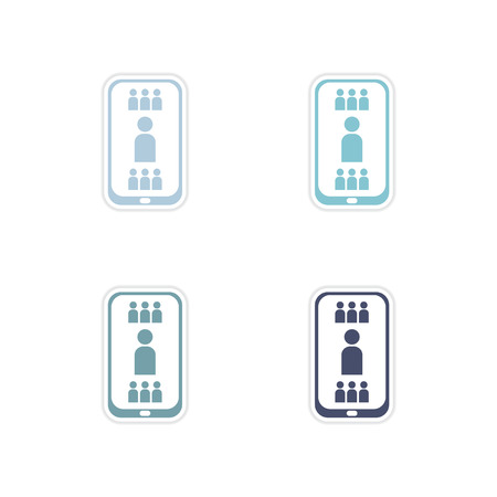 telephone book: Set paper stickers on white  background mobile phone telephone book