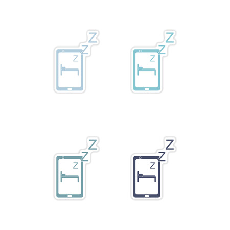 shut off: Set paper stickers on white  background mobile phone switched off