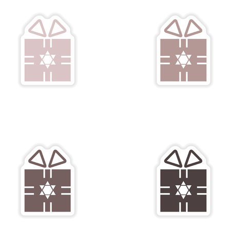 sukkot: Set of paper stickers on white background  Hanukkah gift Illustration