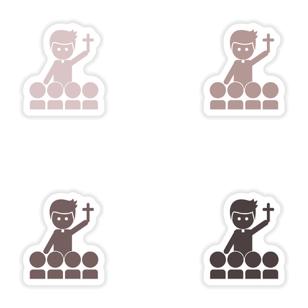 religious clothing: Set of paper stickers on white background   priest and people Illustration