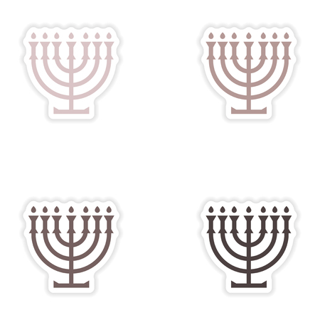 candlestick: Set of paper stickers on white background  candlestick candles Illustration