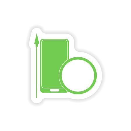 antivirus: paper sticker on white background  mobile antivirus