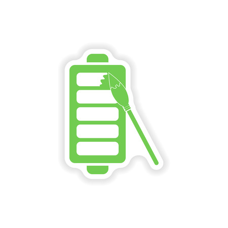bubble acid: paper sticker on white background  mobile battery