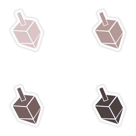 hanuka: Set of paper stickers on white background  Jewish dreidel