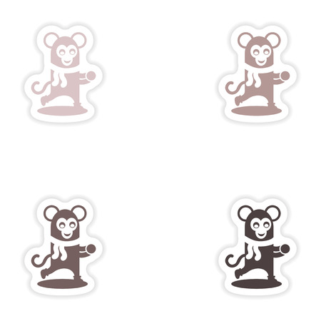 iceskates: Set of paper stickers on white background    monkey snow Illustration