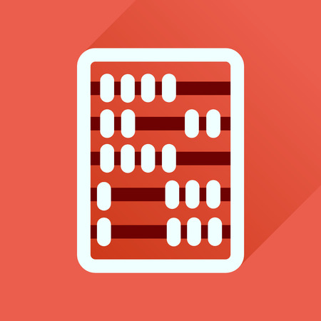 schoolchildren: Flat icon with long  shadow abacus business Illustration