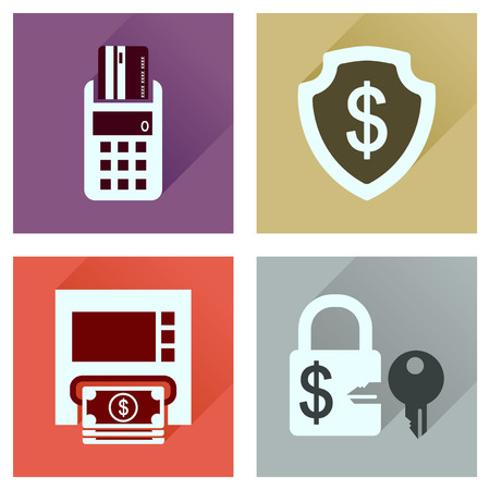 key signature: Concept of flat icons with long  shadow finance Illustration