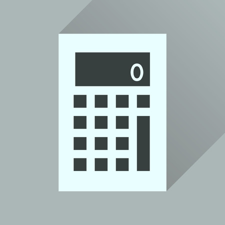 additional: Flat icon with long  shadow office calculator Illustration