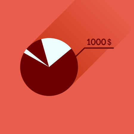 stat: Flat icon with long  shadow money chart