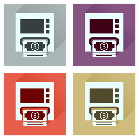 bill of exchange: Concept of flat icons with long  shadow ATM cash Illustration