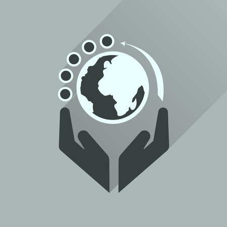 earth hands: Flat icon with long  shadow Earth hands Illustration