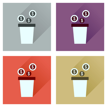 investors: Concept of flat icons with  long shadow pot of coins Illustration