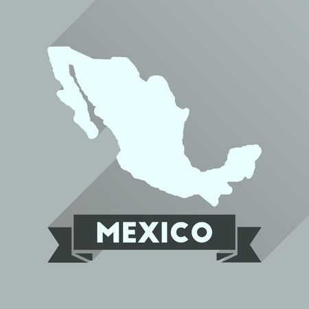 federation: Flat icon with long  shadow map of Mexico
